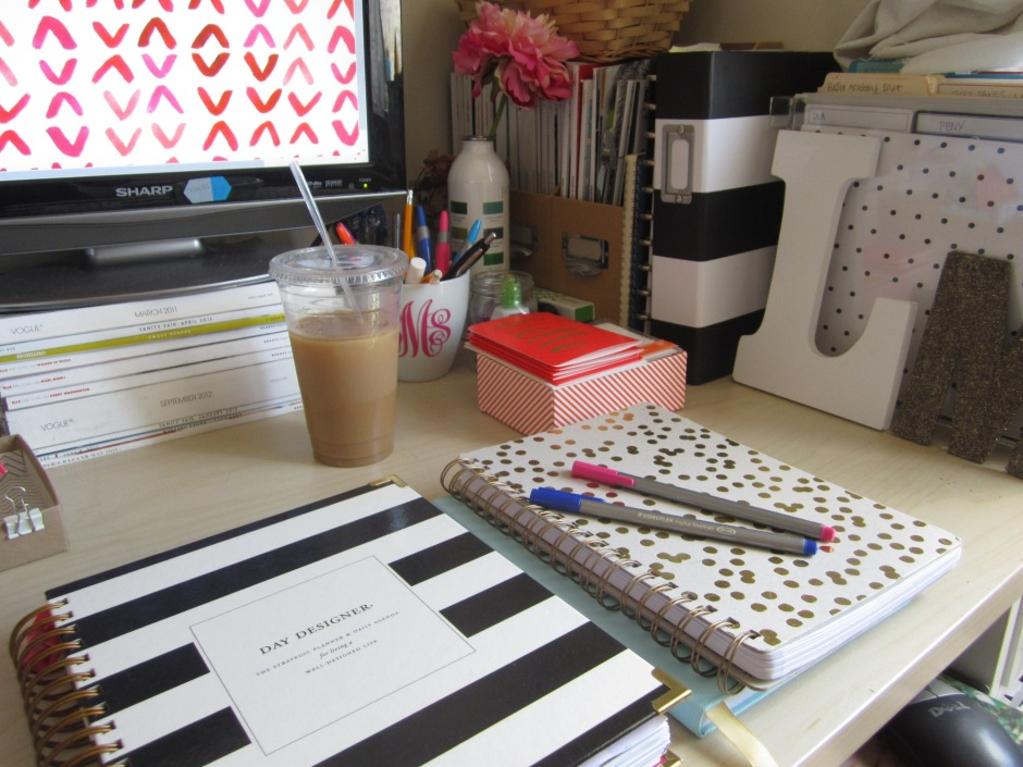 desk apartment nyc day designer iced coffee