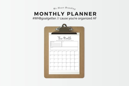 free printable on weheartbeauty and weheartbranding. undated monthly schedule with goal tracking and room for notes